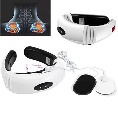 Nackenmassagegerät, Intelligentes Elektrisches Pulse Cervical Massagegerät, 3D Schulter Rückenmassagegerät Mit LED Anzeige Und 2 Elektrodenpad zur Linderung Von Muskelkater (Weiß)