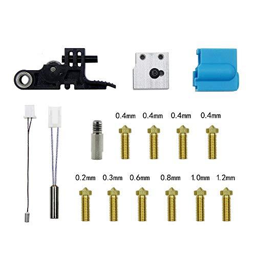 Kit de boquillas de silicona para impresora Artillery 3D Sidewinder X1 y Genius, tubo calefactor termistor con mango de garganta, piezas de calefacción. (Modelo 1)
