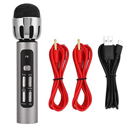 Agatige Micrófono de Mano, Micrófono de Mano con Transmisión en Vivo con Tarjeta de Sonido de Sintonización Incorporada para Cantar, Hablar, Casarse en Karaoke