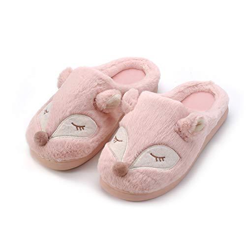 Kqpoinw Pantofole Invernali da Interno Scarpe Antiscivolo Regalo Natalizio per Donna e Uomo (38/39 EU, Rosa(Volpe))
