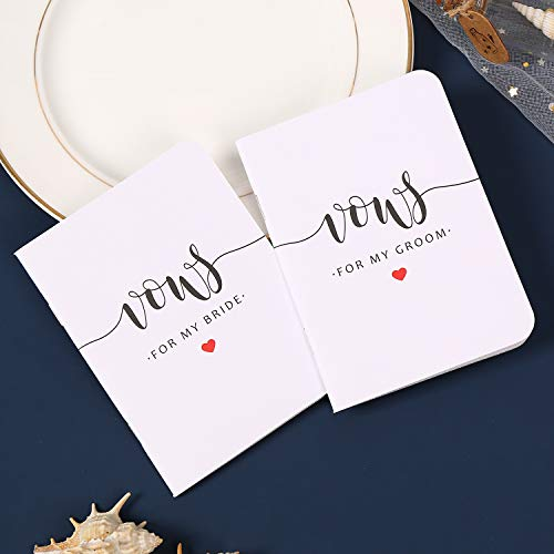 AKITSUMA Wedding Vow Books, Set of 2, Vows for Bride and Groom, His and Her Vow Books, Wedding Keepsake, Gift for Wedding (White)