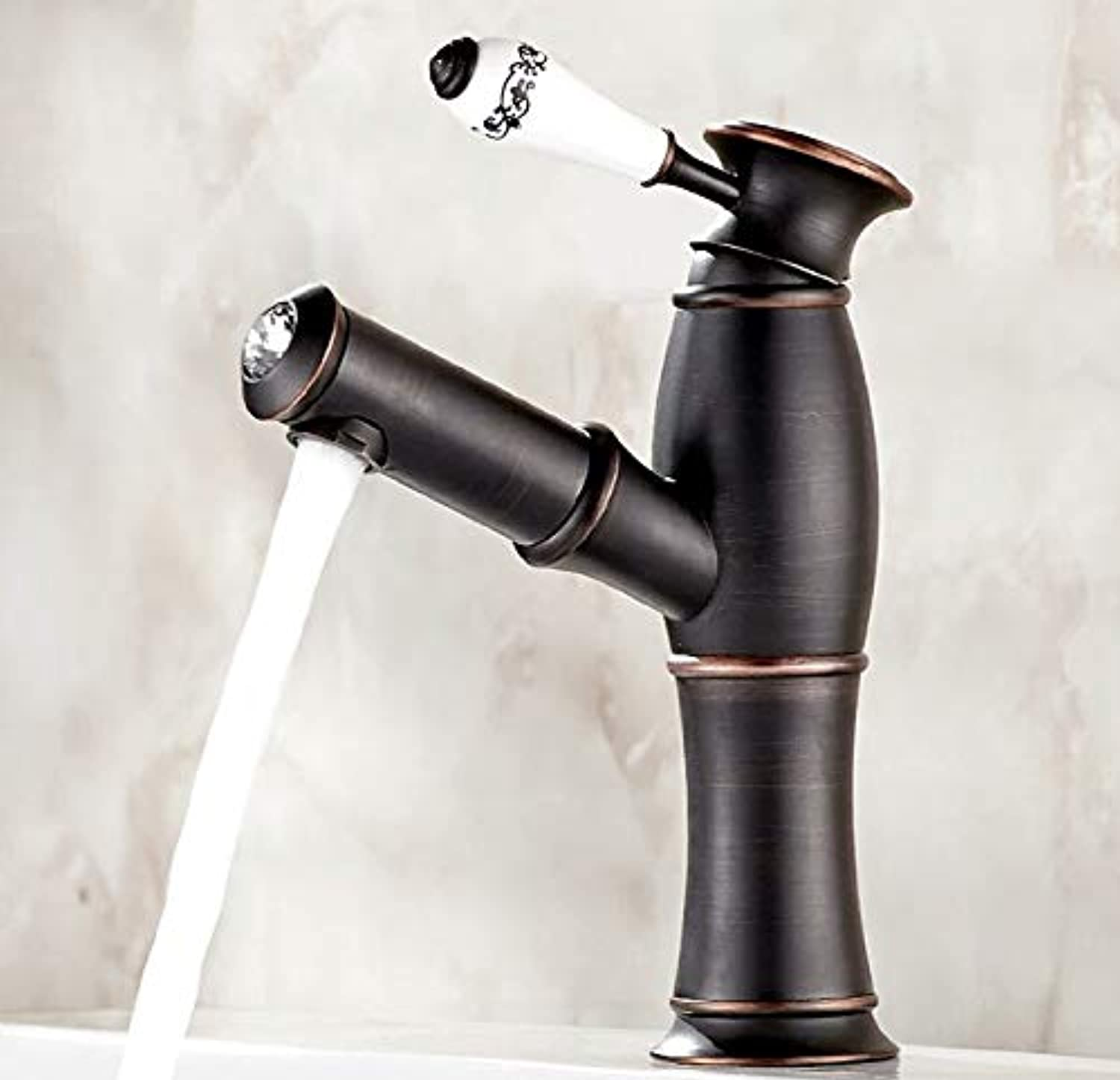 redOOY Bathroom Sink Taps European Basin Faucet Hotel Bathroom Antique Pull Cold And Hot Water Faucet Wash Basin Faucet