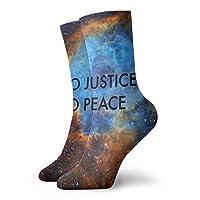 メンズレディースノベルティクルーソックス30cm正義も平和スペースもありませんギャラクシーカジュアル3Dアスレチックアダルトソックスギフト用