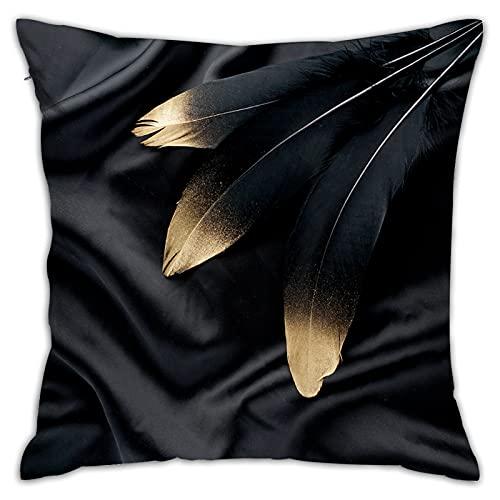 Throwpillow Cuadrado Funda de Almohada Conjunto de Plumas de Cisne Negro Dorado Dorado de Lujo sobre Fondo de Tela de Seda Fundas de cojín para Sala de Estar sofá, Dormitorio, decoración 45x45cm