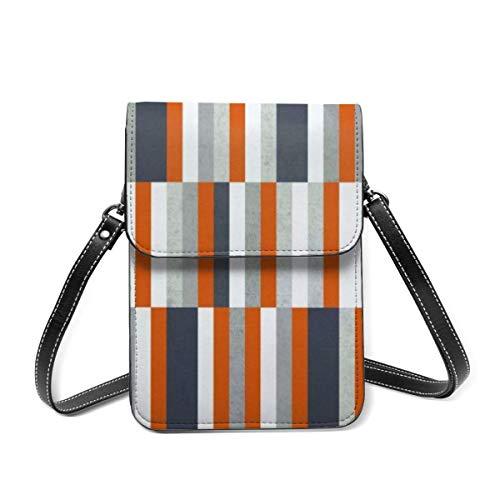 Small Shoulder Bag, Orange Navy Blue Grey Stripes Abstract Maritime Crossbody Bag CellPhone Wallet Purse Lightweight Crossbody Handbags for Women Girl