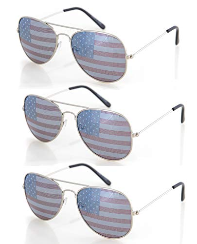 Shaderz USA America Silver Aviator Sunglasses - Great Accessory for 4th of July - Set of 3