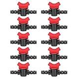 Emoshayoga 10PCS 1/2 Válvula de púas de riego Manguera Accesorios de riego Conector de riego con Mango de Ajuste Rojo para regar Cobertizos de jardín Camas de Flores Terrazas Céspedes