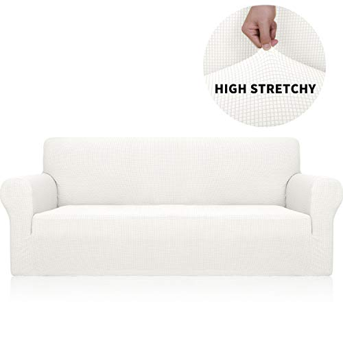 YUUHUM Sofa Cover Stretch Jacquard Couch Covers for 3 Cushion Couch Universal Fitted Sofa Slipcovers Living Room Non Slip Spandex Furniture Protector with Elastic Bottom (Sofa, White)
