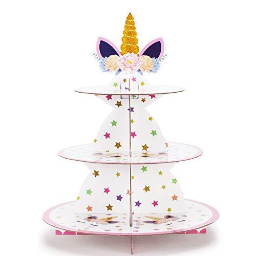 ZEEREE Unicorno Alzata per Cupcake Cartone, 3 Tier Alzata per Torta Unicorno Supporto per Cupcake per Dessert Torte per Baby Shower, Compleanni, Feste
