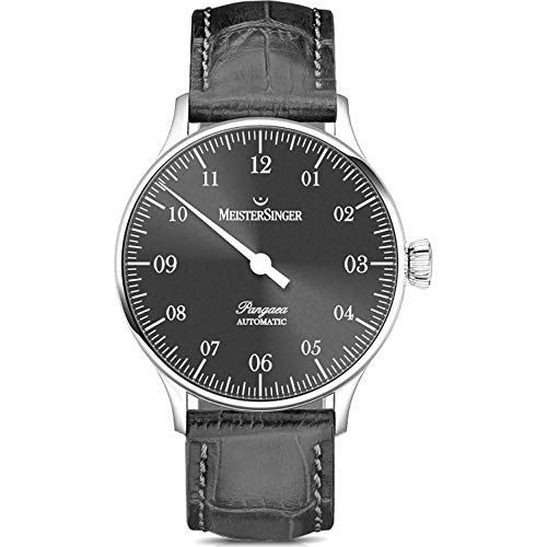 MeisterSinger Pangaea Mens Single-Hand Automatic Watch - 40mm Analog Grey Face Unique Dress Watch with Scratch Resistant Sapphire Crystal - Grey Leather Band Swiss Classic Luxury Watch for Men PM907