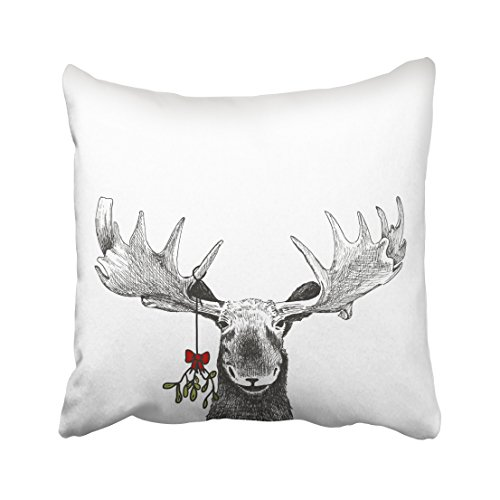 Emvency Decorative Throw Pillow Cover Square Size 18x18 Inches Fun Christmas Funny Sketch Of Big Smiling Moose Winter Pillowcase With Hidden Zipper Decor Cushion Gift For Holiday Sofa Bed