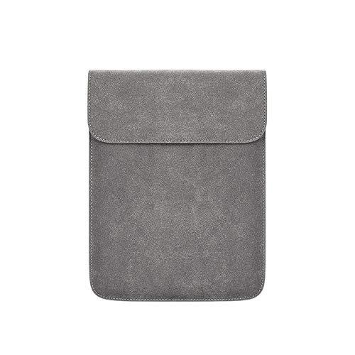 Funda para Ordenador portátil de Cuero PU Suave para Macbook Air Pro 12 13,3 14 15 Pulgadas Bolsa para Ordenador portátil Bolsas para Tableta para Mujer-Gris_11 Pulgadas