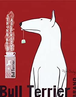Bull Terrier Tea by Ken Bailey Dogs Pets Animals Print Poster lg 11x14