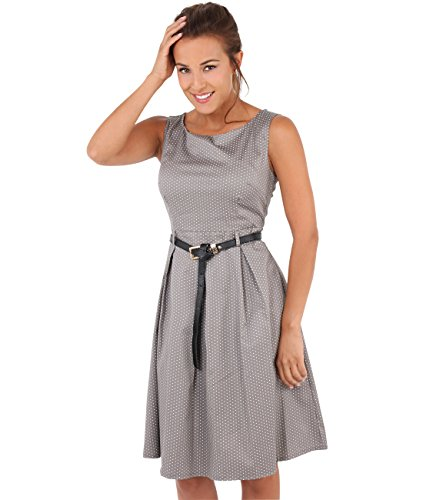 Krisp Damen 50er Jahre Vintage Kleid (Mokka, Gr.44, XXL) (7045-MOC-16)