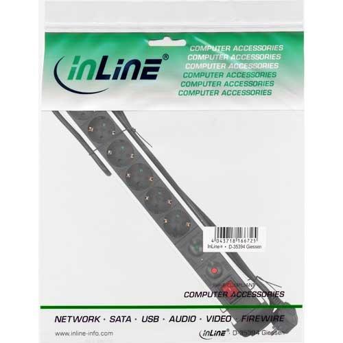 InLine 16436A Steckdosenleiste, Alu, 6-fach Schutzkontakt, mit Überlast- und Überspannungsschutz, mit Schalter, 1,5m