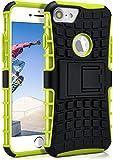 OneFlow® Outdoor Back-Cover aus Silikon + Kunststoff [Double-Layer] passend für iPhone 7 / iPhone 8 | Extrem beständiger 360° Schutz, Grün