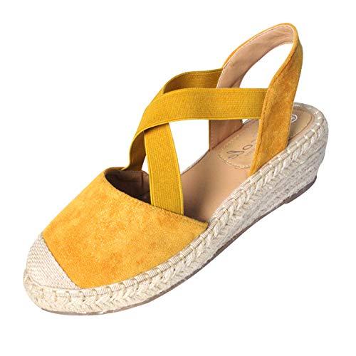 Damen Sandalen Keilsandalen Kreuz Strap Slingback Closed Toe Wedge Platform Slip On Sommer Outdoor Sandals Freizeitschuhe(1-Gelb/Yellow,38)