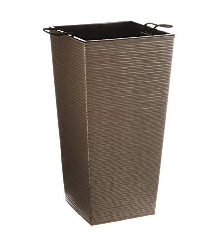 AC-Déco Pot Effet Terre - L 29 x l 29 x H 57 cm - Plastique - Taupe