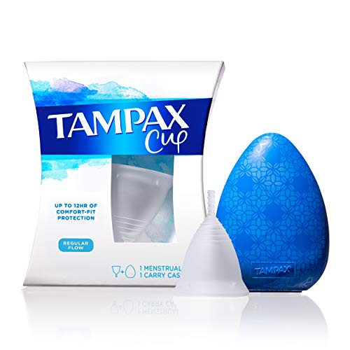 Tampax Menstrual Cup Regular Flow with Carrying Case, Tampon Alternative for Period, Reusable, 12...
