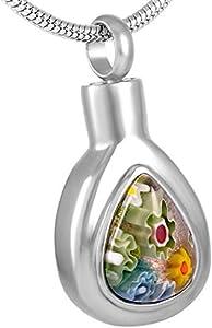 PicZhiwenture Colgante conmemorativo Cremación Elegante Collar de Momento Cristal de Murano Urna funeraria Colgante Urnas funerarias Cenicero Teardrop Locket Recuerdo con Tornillo-1