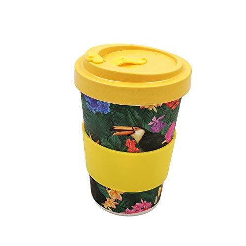 Taza para café de Fibra de bambú (Taza de café ecológica Reutilizable 420 ml, Hecha con Fibra de bambú Natural orgánica) (Amarillo)