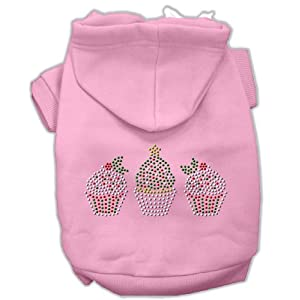 Mirage Pet Products 8-Inch Christmas Cupcakes Rhinestone Hoodie, X-Small, Pink
