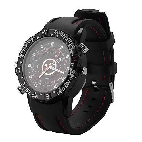 8 GB impermeable espía oculta reloj de pulsera Cámara de grabación de video Grabadora de voz con reloj inteligente Infrarrojo de visión nocturna HD 1280 X 960P (Negro)
