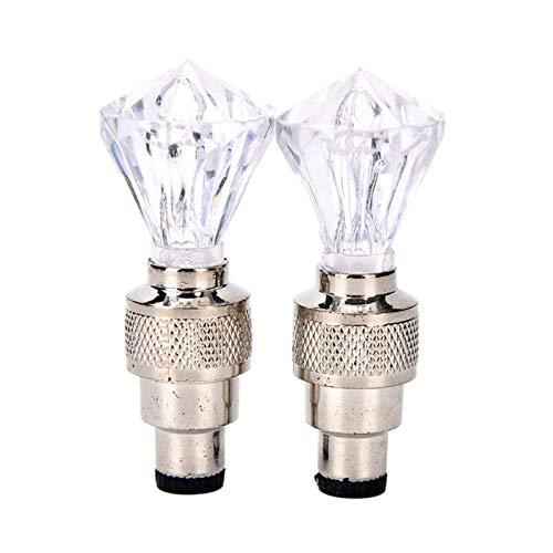 LIXUDECO Ventile Fahrradbeleuchtung Fahrrad-Reifen-Ventil lgiht Reifen Reifen Ventilkappen LED-Licht MTB-Fahrrad-Zubehör Rad-Speiche-Diamant-Form (Color : White)