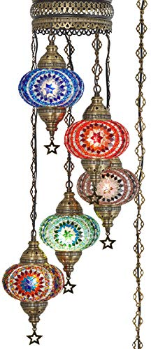 DEMMEX Turkish Moroccan Mosaic Hardwired OR Swag Plug in Chandelier Light Ceiling Hanging Lamp Pendant Fixture, 5 Big Globes (5 X 7' Globes Swag)