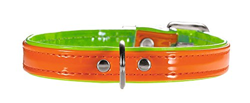 HUNTER Hundehalsband Modern Art Neon, Größe 32, orange/grün, Kunstleder