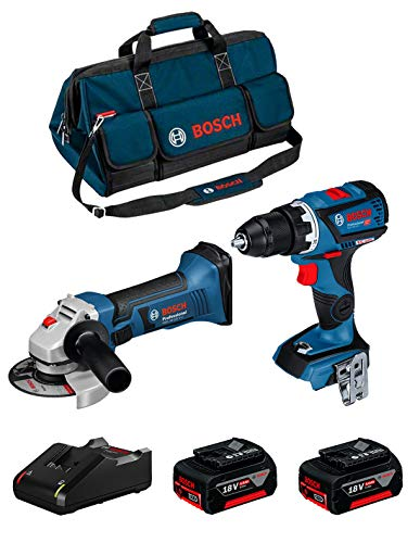 BOSCH Kit 18V BK209BAG (Taladro Atornillador GSR 18V-60 C + Amoladora GWS 18-125 V-LI + 2 Baterías de 5,0 Ah + Cargador + Bolsa)