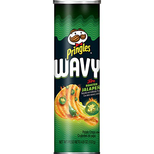 Pringles Wavy, Potato Crisps Chips, Fire Roasted Jalapeno, 4.8oz Can