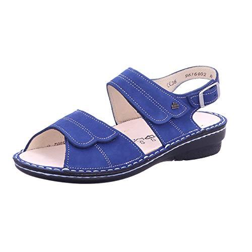 Finn Comfort Barca Kobalt (Blau) - Sandale mit Loser Einlage - Damenschuhe Sandale bequem/lose Einlage, Blau, Leder (Nubuk)