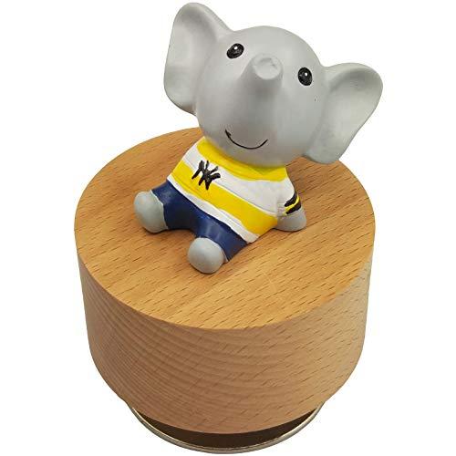 falado Mini caja de música giratoria de madera con bonito adorno de elefante (Tune: You are my Sunshine)