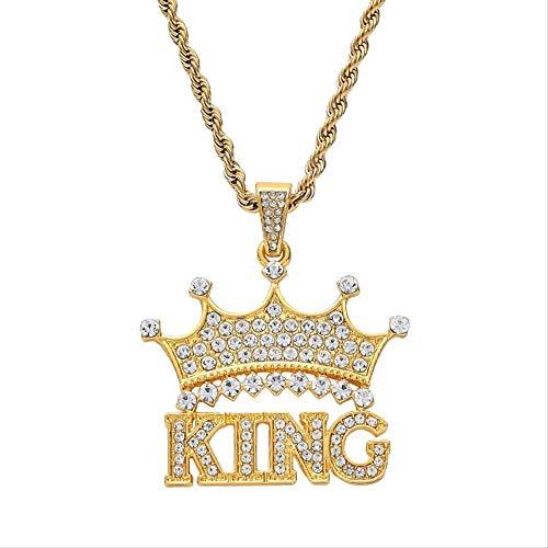 Naswi Hip Hop Full Rhinestone King Shape con Colgantes De Corona Collares Bling Bling Cuban Link Cadena Hiphop Collar
