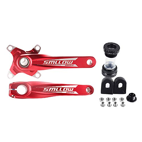 SMLLOW Mountain Bike Crankset Aluminum Alloy MTB Crank Arm 170mm 104 BCD with Bottom Bracket Kit and Chainring Bolts Compatible with 7/8/9/10 Speed Bicycle Red