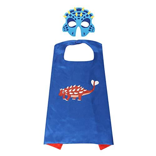 Zooawa Disfraz de Disfraces de Dibujos Animados, Disfraces de Dibujos Animados, Capa de Dinosaurio Imitado con Máscara de Fieltro del Cabo para Carnaval, Halloween para Niños – Azul