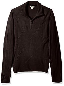 Haggar Men s Soft Acrylic Textured Diamond 1/4 Zip Sweater Mocha Heather S