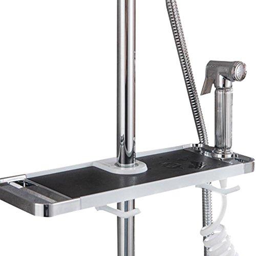 Support multifonctionnel de stockage d'étagère sans perforation de salle de bains avec des crochets, costume pour le rail 18-25mm, panier de stockage détachable pour la tête/serviette de douche