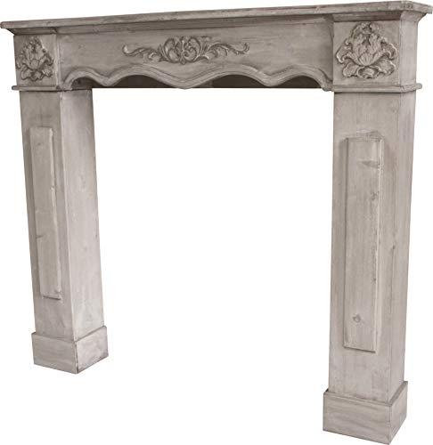 elbmöbel Kaminumrandung aus Holz in weiß für Elektrokamin und Gelkamin