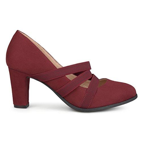 Brinley Co. Womens Levin Faux Suede Comfort Sole Chunky Heel Almond Toe Triple Elastic Strap Heels Wine, 9 Regular US