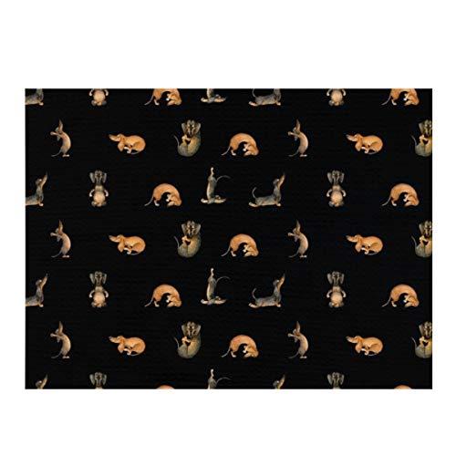 Alfombrilla de secado de platos, para yoga, perro salchicha Doxie Inga Smg, color negro, absorbente, reversible, de microfibra, para encimera de cocina, 30,4 x 40,6 cm