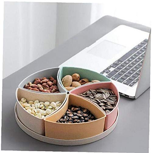 Amoyer Snack 'organizzatore di Immagazzinaggio 5 Vano Paglia di Grano Cnady Snake Serve Contenitore Circolare Divisa 1pc Dry Food Storage Platter