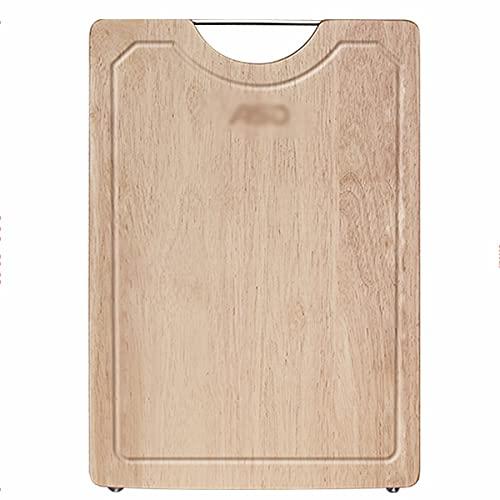 Tabla de cortar de madera de caucho, Tabla de cortar de madera maciza para el hogar, Tabla de cortar reversible multifuncional, Comedero antidesbordamiento, Tabla de cortar verduras, Queso Fray
