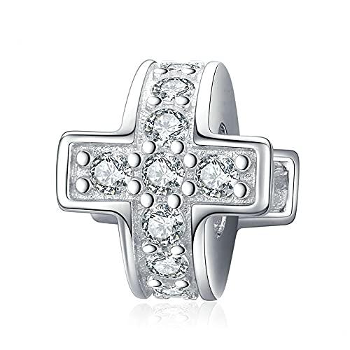 LIJIAN DIY 925 Sterling Jewelry Charm Beads Deslumbrante Cruz De Metal con Tapón De Silicona Haga Originales Pandora Collares Pulseras Y Tobilleras Regalos para Mujeres