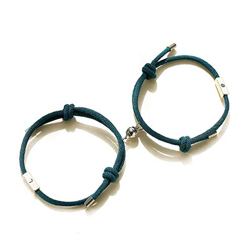 Generic 2Pcs Sun and Moon Lover Couple Magnetic Distance Bracelet Kit Lovers Jewelry Dark Green