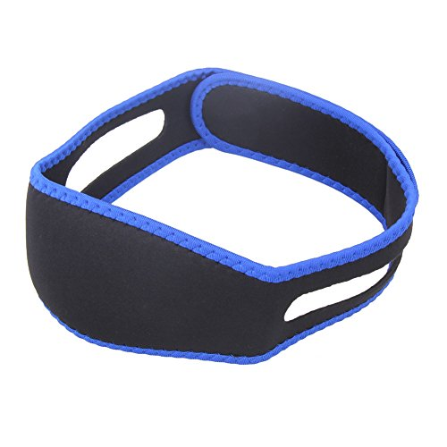 Anti-Schnarch-Kinnriemen - Soft Neopren Material - Damen Herren Unisex - schwarz/blau