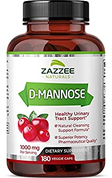 Zazzee D-Mannose 180 Vegan Capsules 1000 mg per Serving Pure Potent and Fast-Acting Extra Strength Dosage Vegan Non-GMO and All-Natural