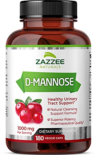 Zazzee D-Mannose 180 Vegan Capsules, 1000 mg per Serving, Pure, Potent and Fast-Acting, Extra Strength Dosage, Vegan, Non-GMO and All-Natural