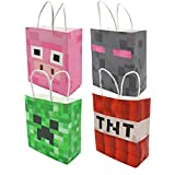 24PCS Party Favor Bags Pixels Miner Birthday Party Supplies, Party Gift Goody Treat Candy Bags for Pixels Miner Party Favors Decor Birthday